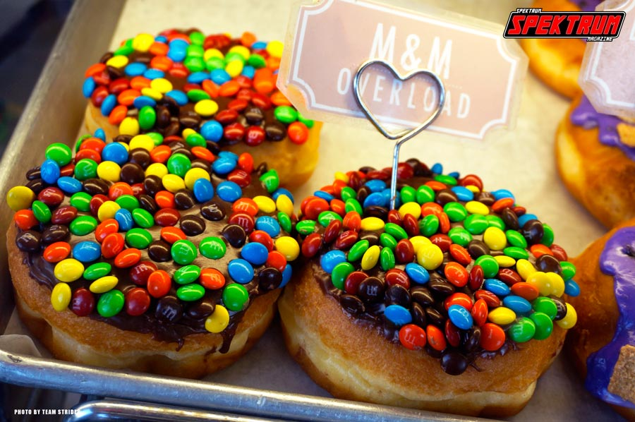 Chocolate frosted donuts with M&M's