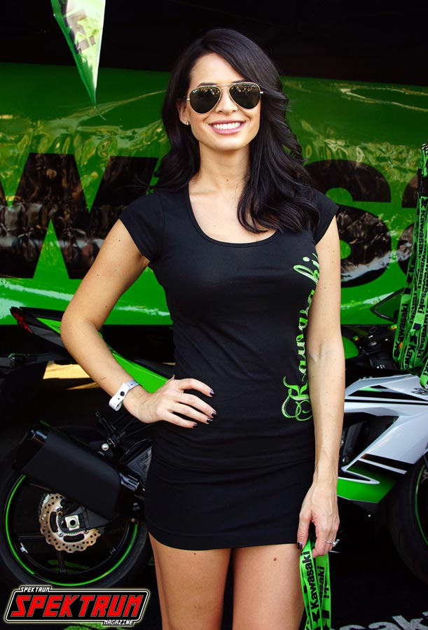 Gorgeous model at the Kawasaki Booth at Formula Drift Irwindale