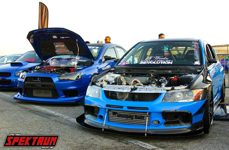 Pair of Mitsubishi Evos at Formula Drift Irwindale