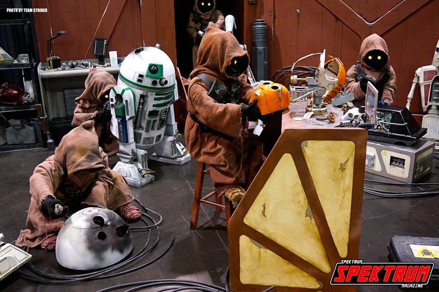 Jawa's repairing and dismantling droids