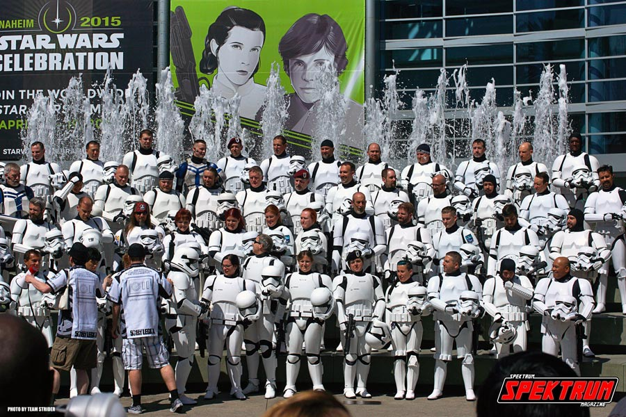 The massive group of Stormtroopers that greeted the fans entering the show