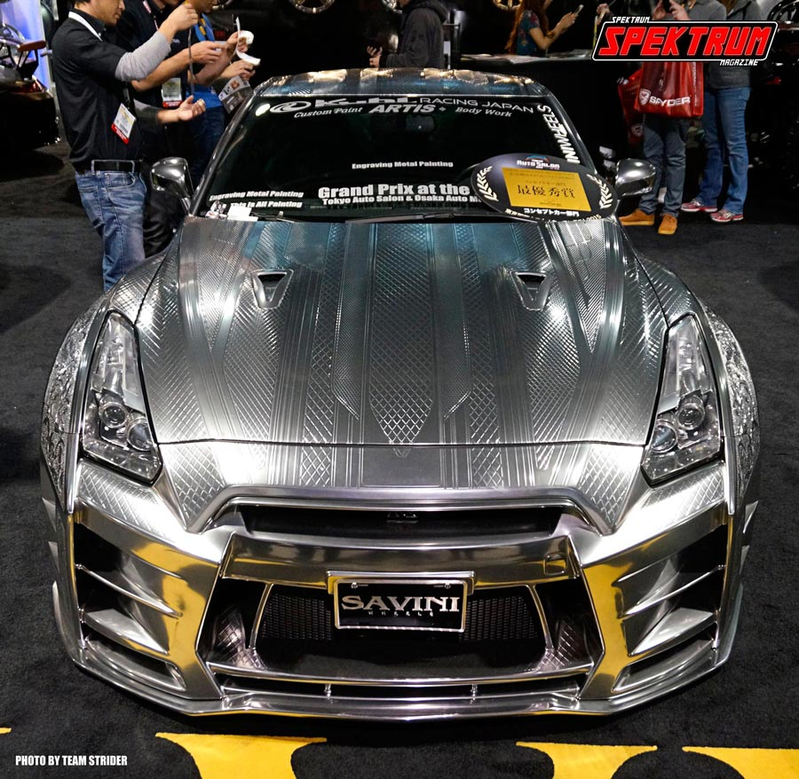 One of the most amazing cars at SEMA. A metal etched Nissan GTR. The design and craftsmanship was just impressive