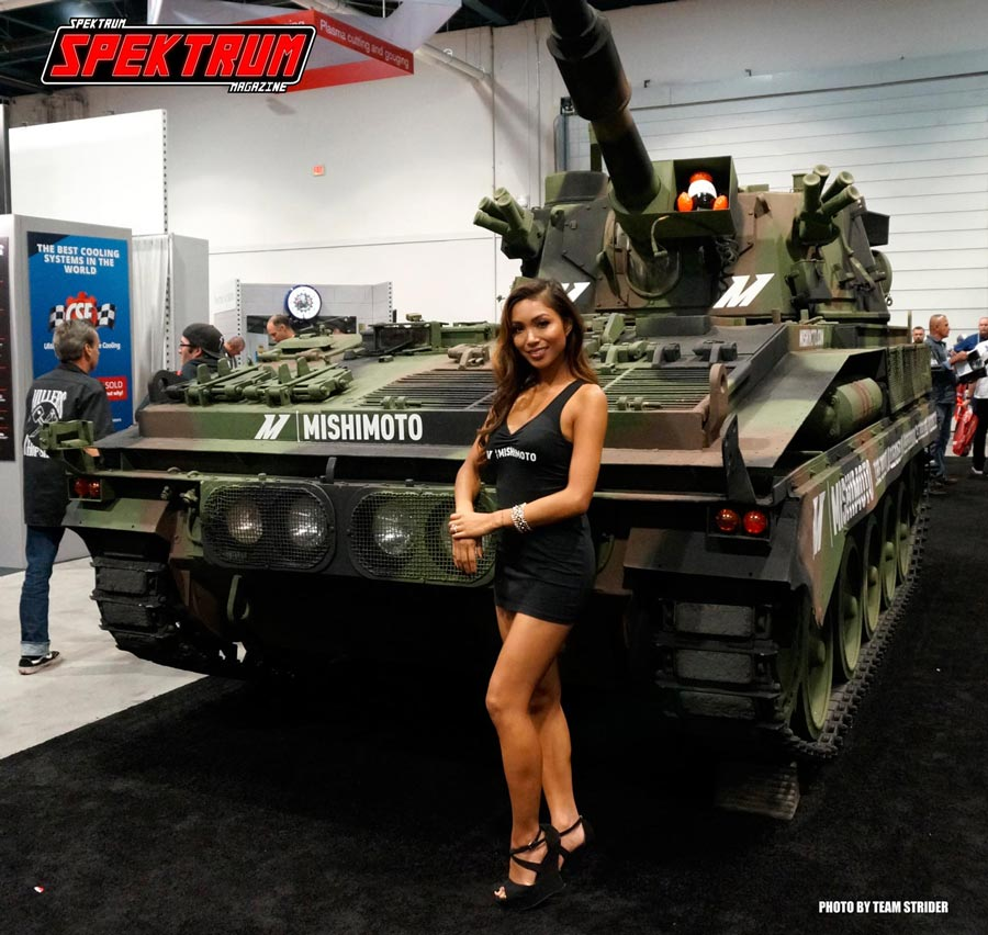 SEMA is so crazy that even a battle tank made an appearance! Courtesy of Mishimoto Radiators