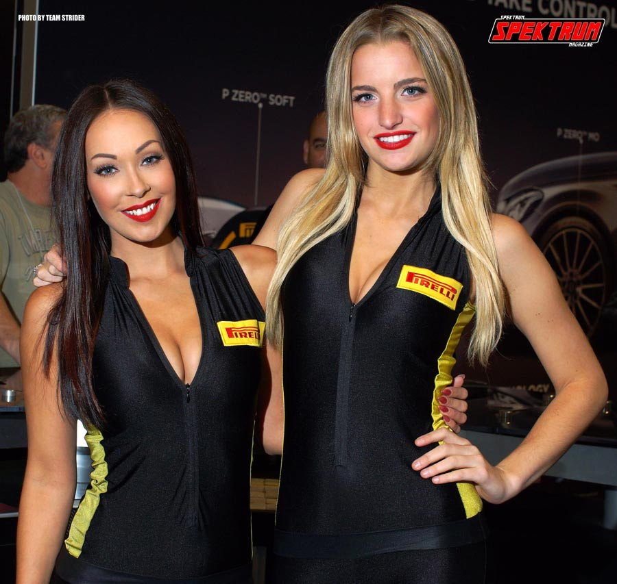 Models Corissa Furr and Brooke Boerman at the Pirelli Tires booth