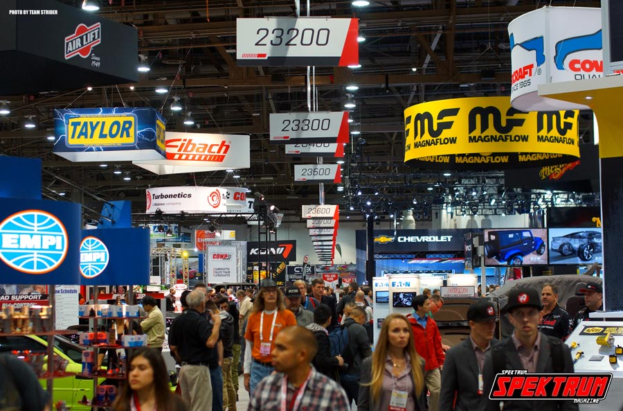 The battleground that is SEMA. Rows and rows of cars and car accessories