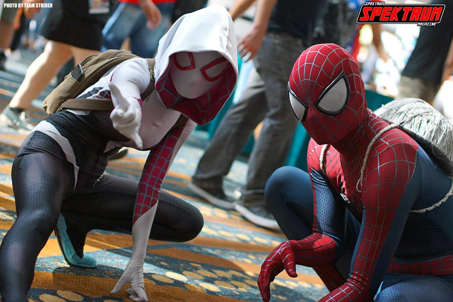 Spider-Gwen and Spiderman at the LBCE