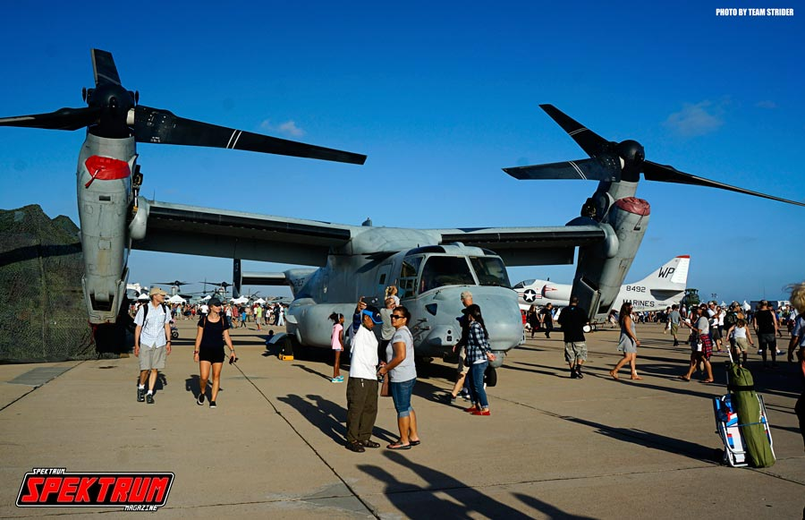 The new V-22 Osprey with its rotor blades open