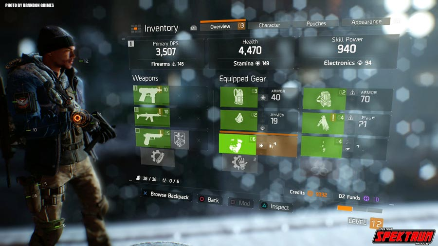 The Character Option Screen for The Division