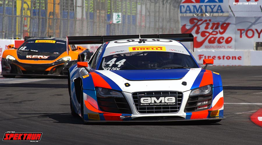 GMG Racing Driver Brent Holden coming around the granstands at Long Beach