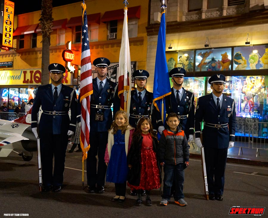 The Air Force Honor Guard with some very happy children