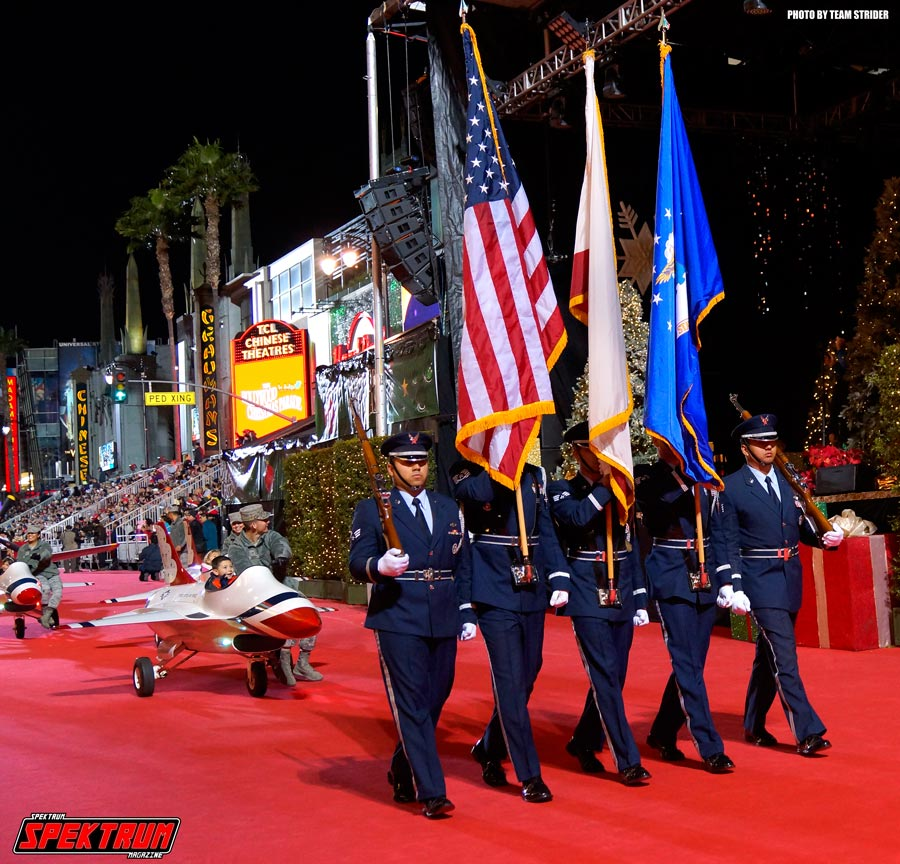 The Air Force Honor Guard and their mini jets hit the parade route