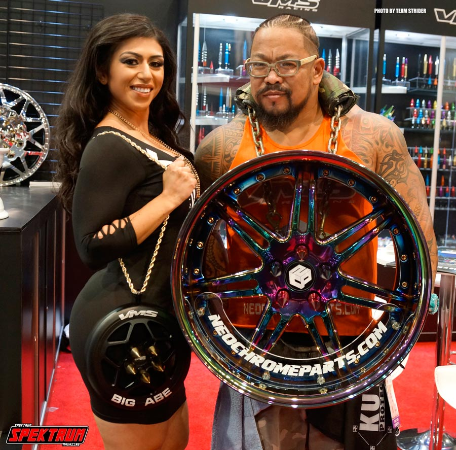 Model Sashli and Big Abe at the VMS Racing Booth