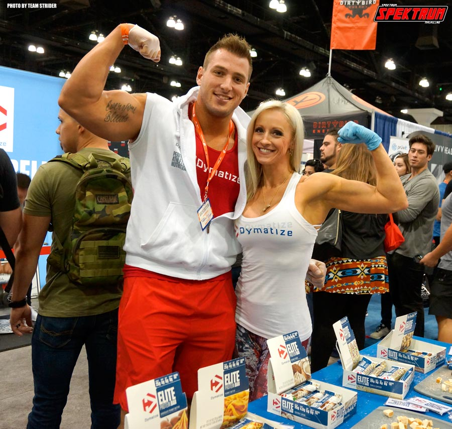 The team of Dymatize passing out some protein bar samples