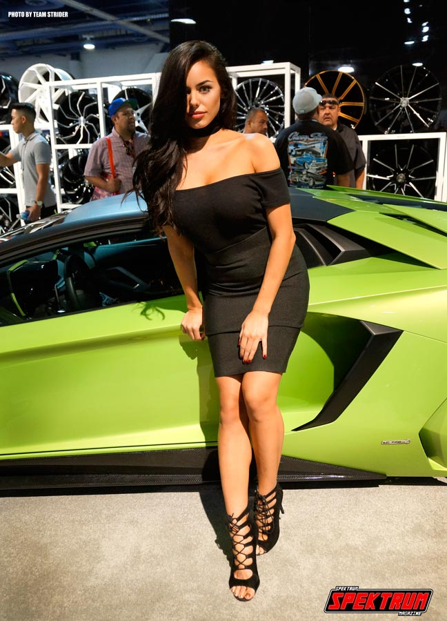 Model Amanda Vex with an incredible Lamborghini Aventador at the Lexani booth
