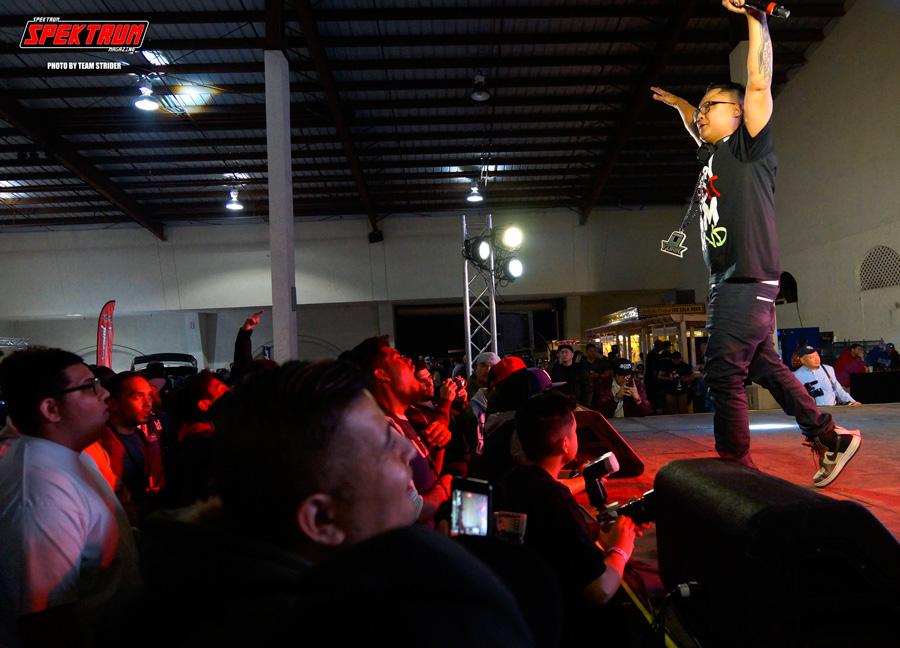 Artist Knowa Lazarus hyping up the crowd