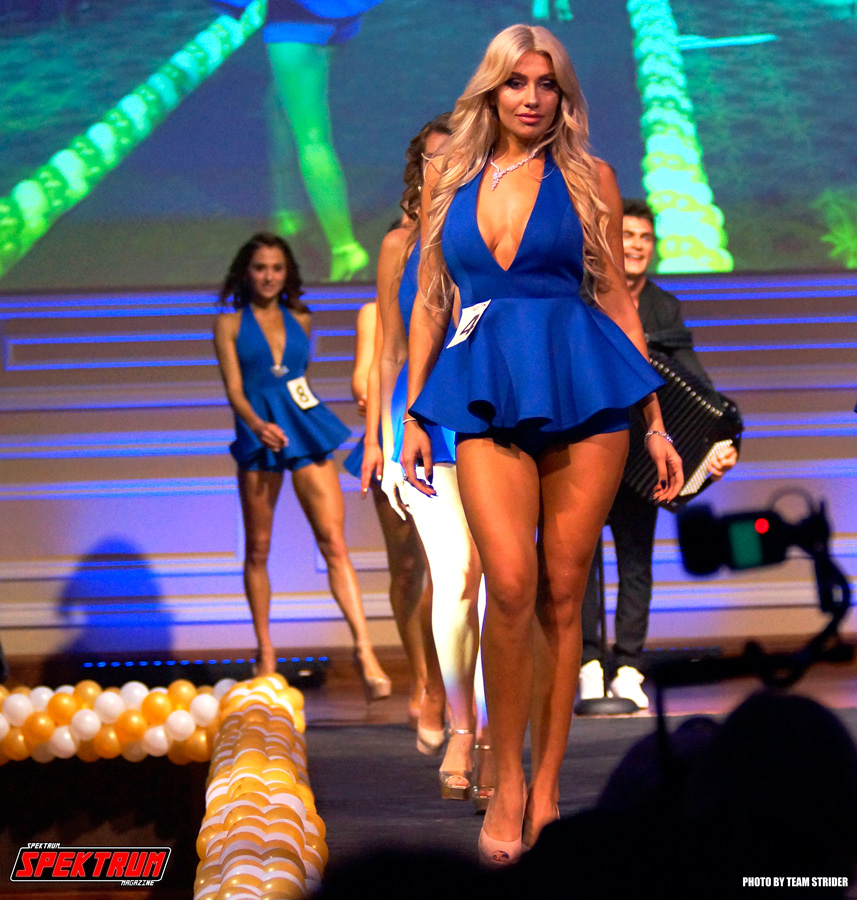 Contestant Daria Albert coming down the catwalk during the show intro