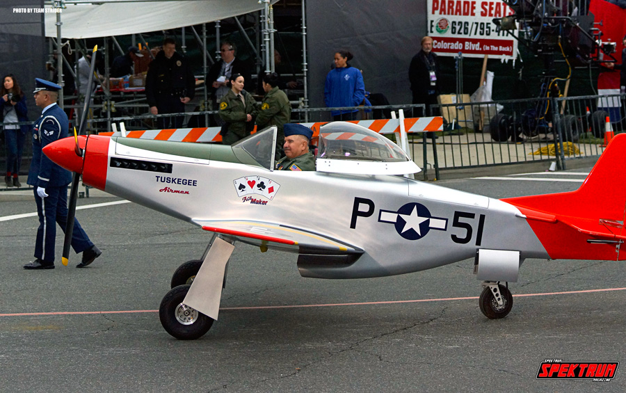Our friend Peter driving a mini P-51 Mustang during the Rose Parade