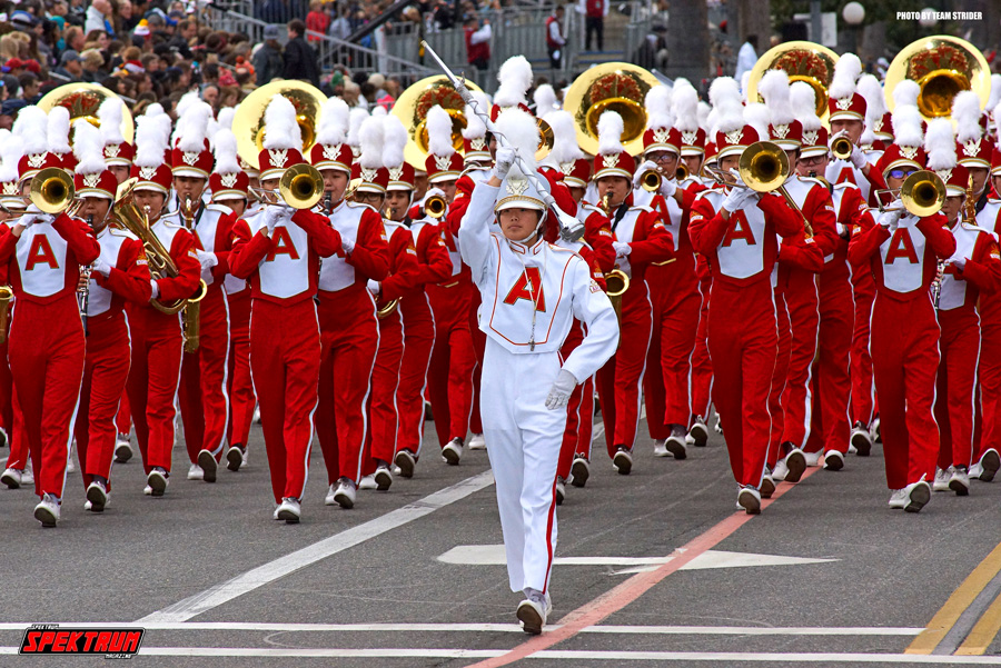 Members of the Arcadia High School band as they walk down the parade main street