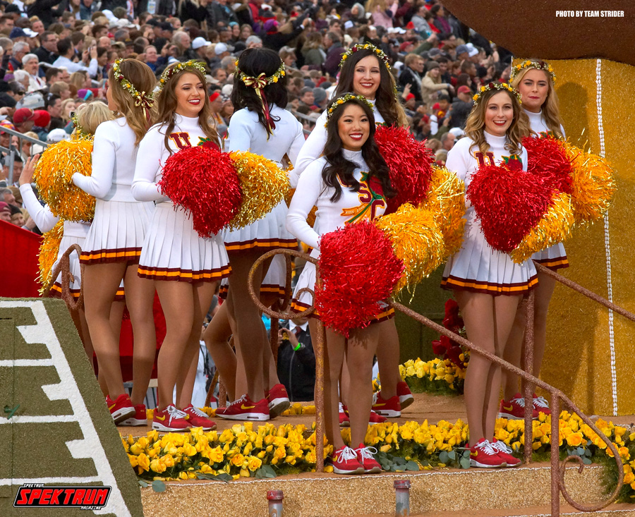 The lovely cheerleaders from USC amping up the crowd