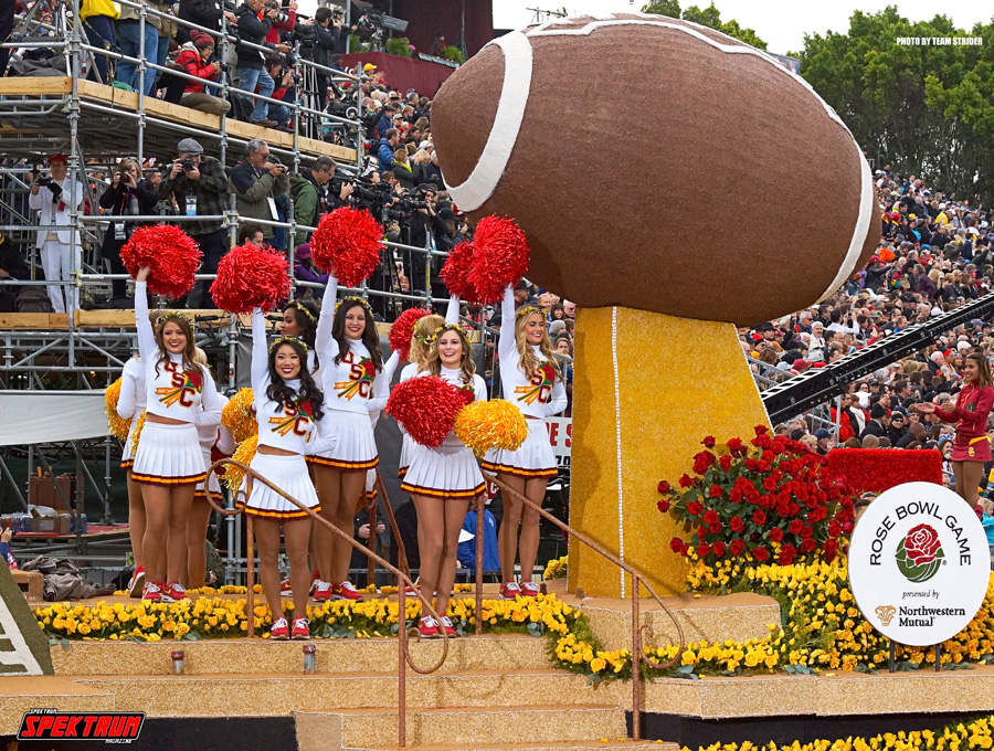 USC Parade Float commemorating their role in the Rose Bowl