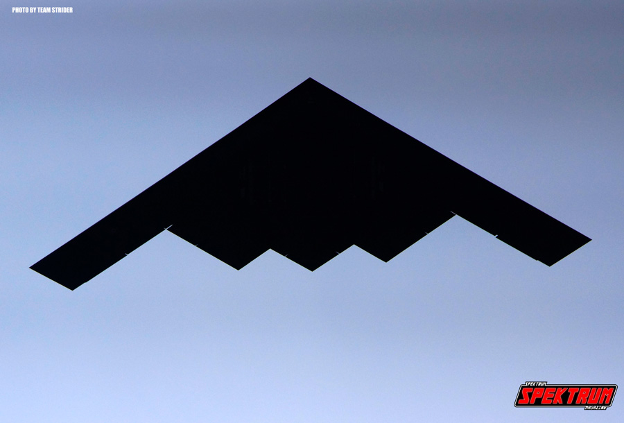 The early morning fly-over of a B2-Spirit Bomber