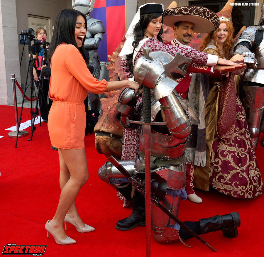 Our reporter Claudia with her knight in shining armor
