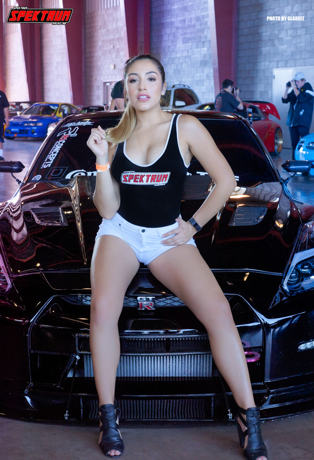 Team Captain Cristal killing it in front of a sweet GTR. Photo by Gladeez