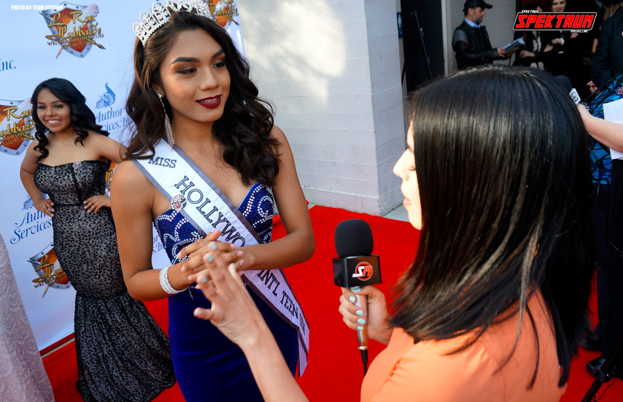 Our correspondent Claudia interviewing Miss Hollywood International Teen