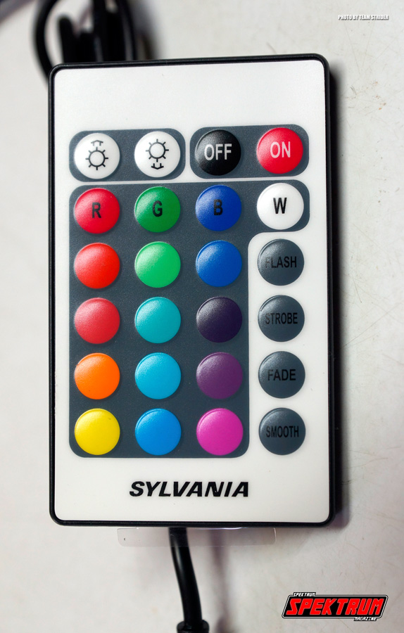 The remote control for the kit in detail