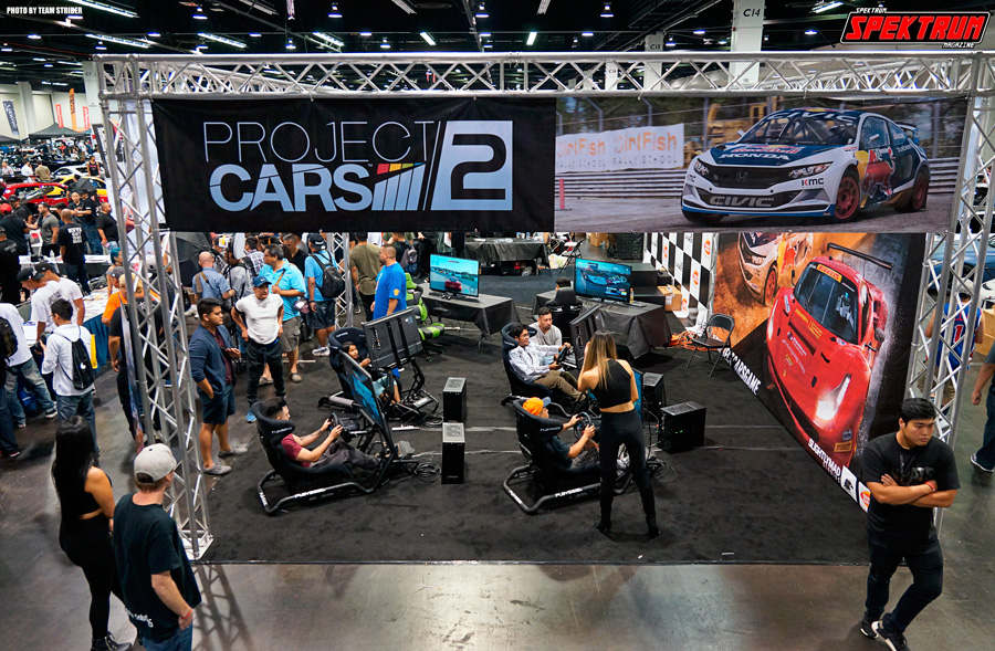 A high up view to the Project Cars 2 booth