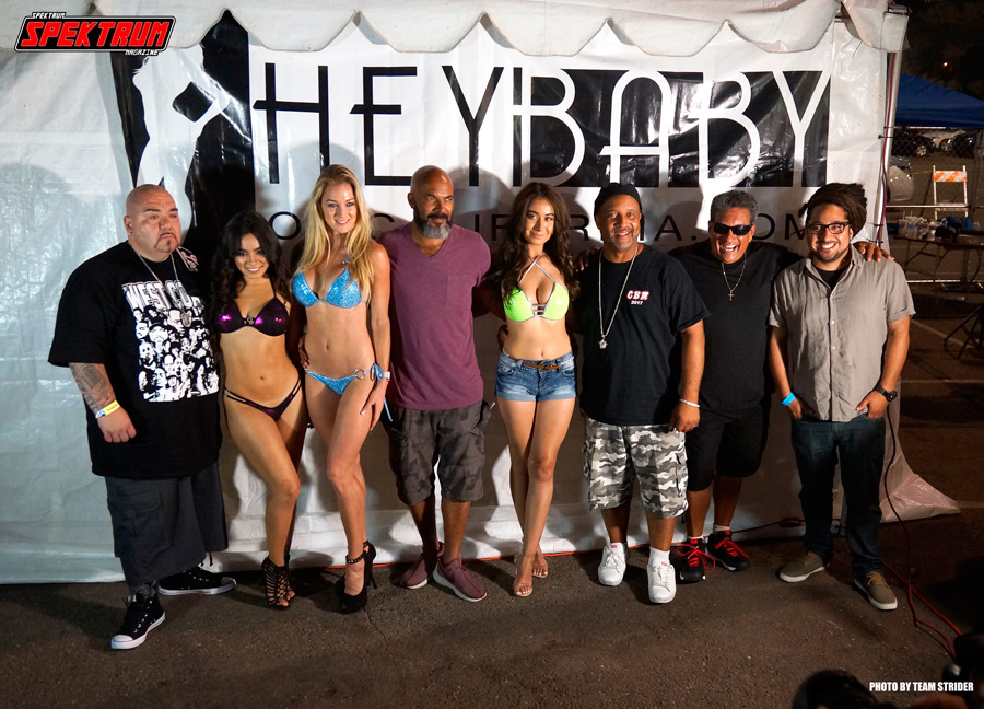 The top three podium winners and judges of the Hey Baby Bikini Contest
