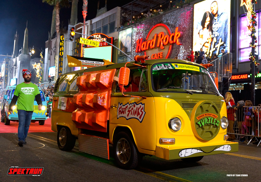 The Ninja Turtle Van rolling down Hollywood Blvd