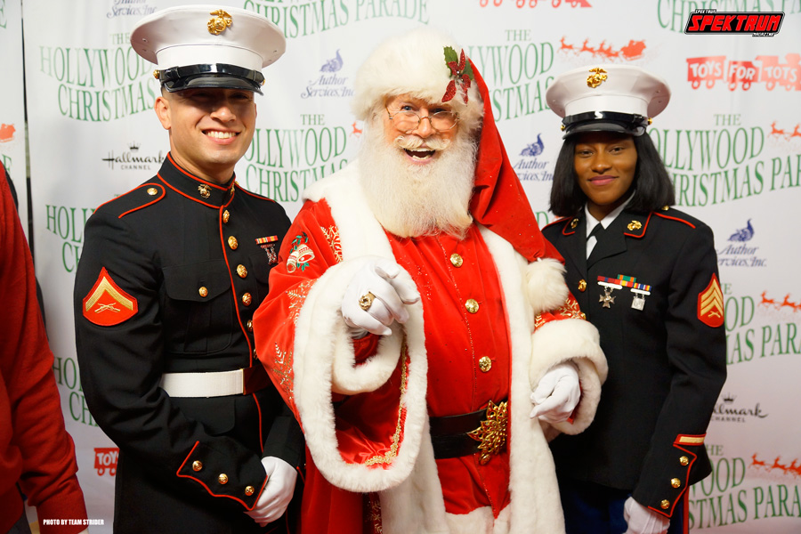 The man of the hour Santa Claus and some very fine US Marines