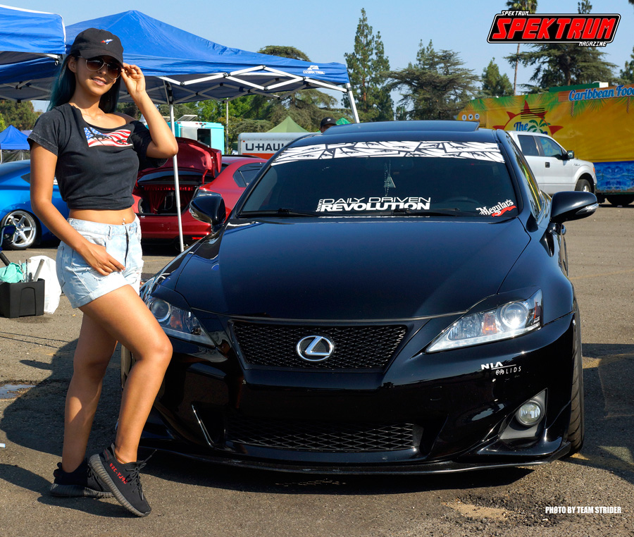 Our friend Bee posing with a very nice Lexus