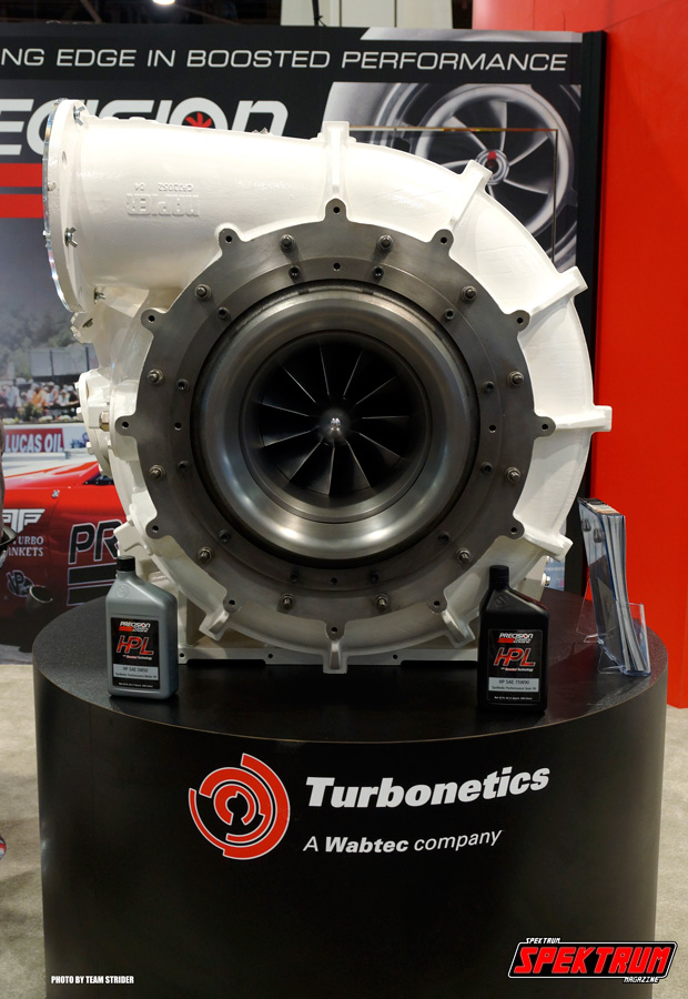 Turbonetics was showing off this massive turbo. Look at the oil quart for scale